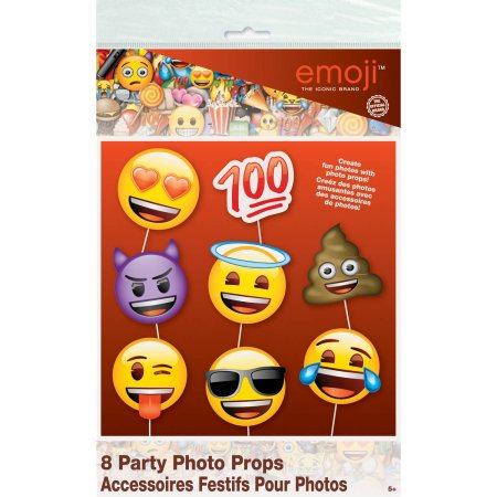Emoji faces photo booth props, 8 ct (Pack of 3)