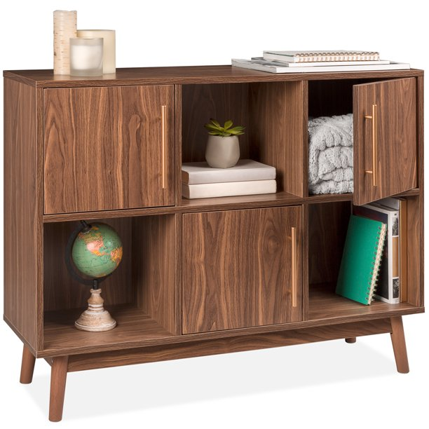 Best Choice Products 6-Shelf Mid-Century Modern Multipurpose Wood Storage Stand for Entryway w/ Cabinet Doors