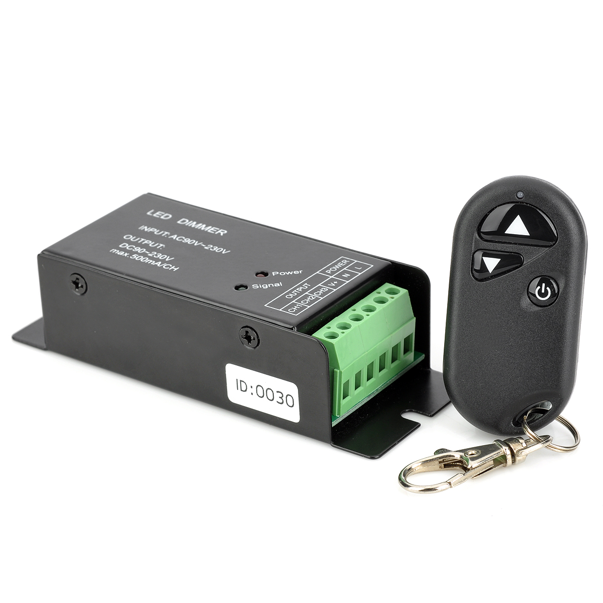 Wireless LED Dimmer w/ RF Remote Control - Black + Green