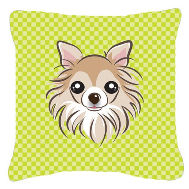Carolines Treasures BB1313PW1818 Checkerboard Lime Green Chihuahua Fabric Decorative Pillow, 18 x 18 In. - image 1 of 1
