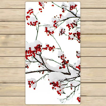 YKCG Winter Season Landscape Clusters of Red Rowan Berry under the Snow Hand Towel Beach Towels Bath Shower Towel Bath Wrap For Home Outdoor Travel Use 30x56 inches