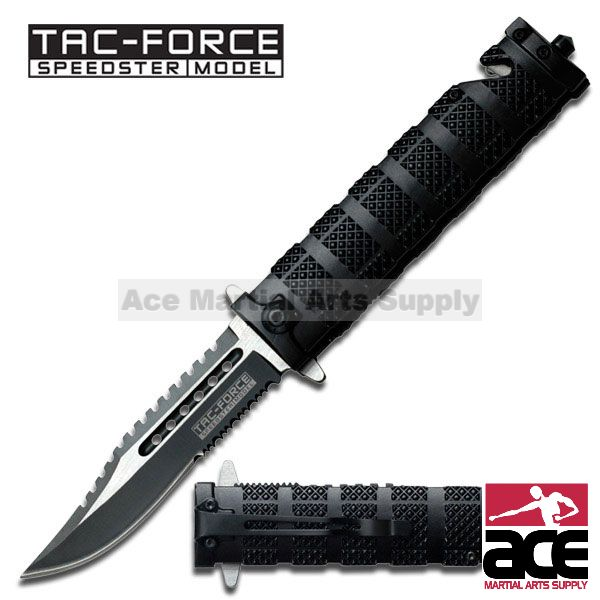 "Tac Force TF-710BK 8.5"" Black Double Serrated Spring Assisted Folding Knife"