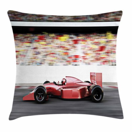 Cars Throw Pillow Cushion Cover, Sports Theme Red Race Car Side View on a Track Leading the Pack with Motion Blur, Decorative Square Accent Pillow Case, 16 X 16 Inches, Gray Red Black, by Ambesonne (Race Car Theme)