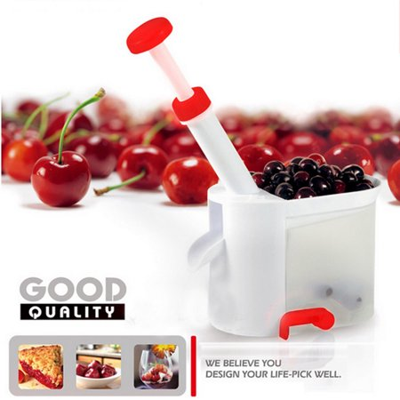 Deluxe Cherry Pitter Olive Stoner Remover Corer with Suction Base Container ()