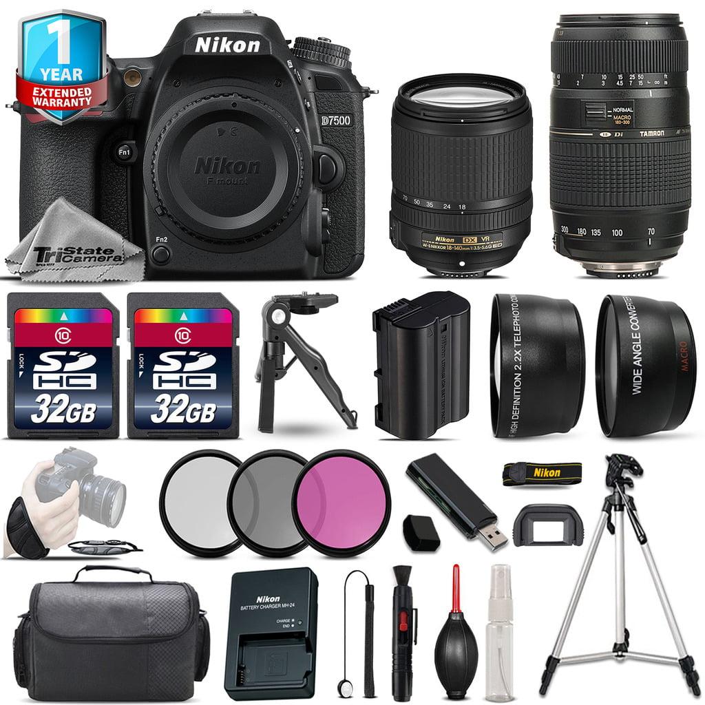 Nikon D7500 DSLR Camera + AFS 18-140mm VR & 70-300mm VR + 1yr Warranty -64GB Kit by Nikon