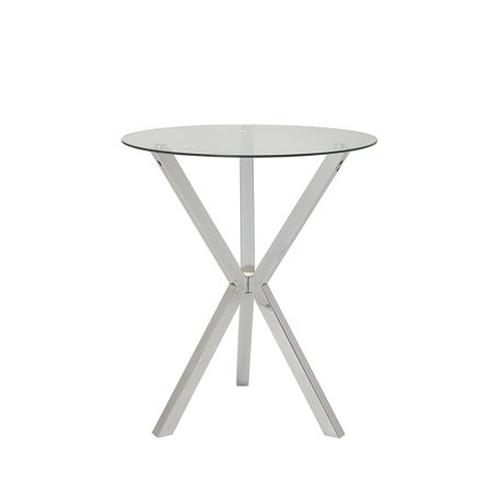 Coaster Contemporary Round Pub Table With Glass Top And X