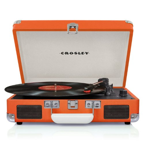 Crosley CR8005A-OR Cruiser Portable Turntable (Orange) w/ Record Cleaning Kit