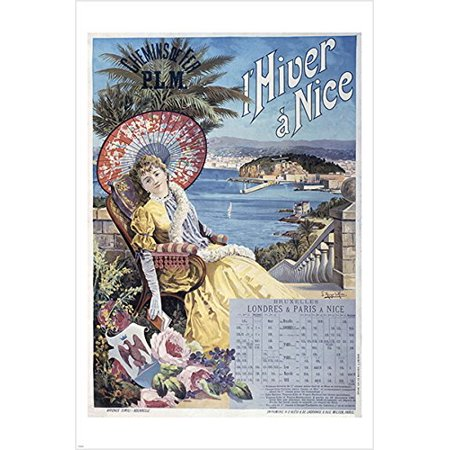 Vintage Travel Poster Nice France Old Fashioned Scenic Ocean Palms 24X36