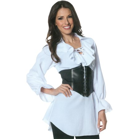Pirate Laced Front Blouse Adult Halloween Costume](Womens Pirate Halloween Costumes 2017)