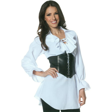 Pirate Laced Front Blouse Adult Halloween Costume - Pirate Halloween Makeup For Boys