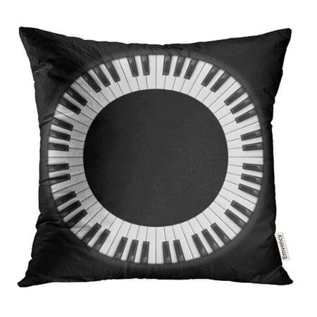 BSDHOME Circle Piano Keys Circular for Creative Design on Black Keyboard Abstract Vintage Pillowcase Cushion Cover 20x20 inch - image 1 de 1