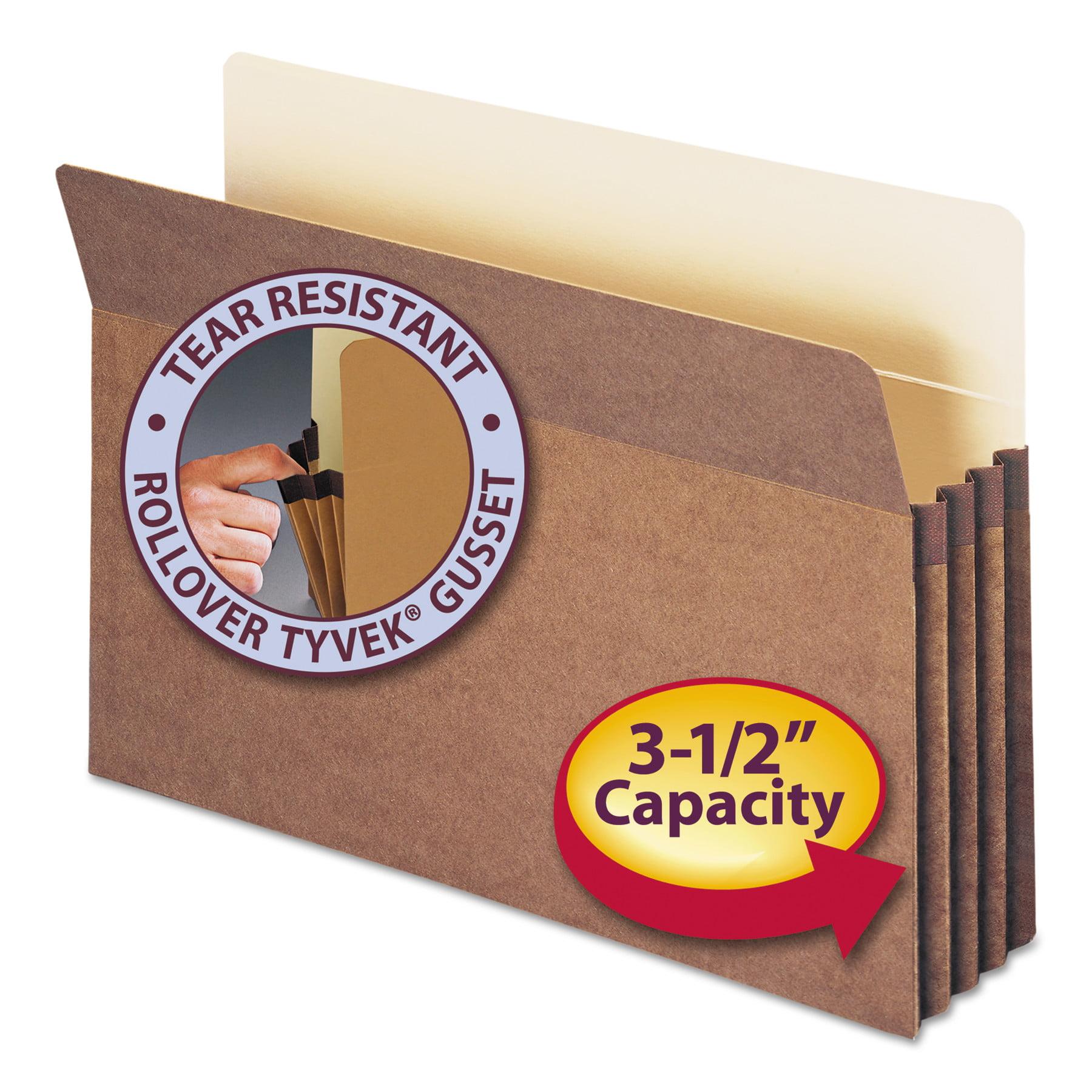"Smead File Pocket, Straight-Cut Tab, 3-1/2"" Expansion, Legal Size, Redrope, 50 per Box (74805)"