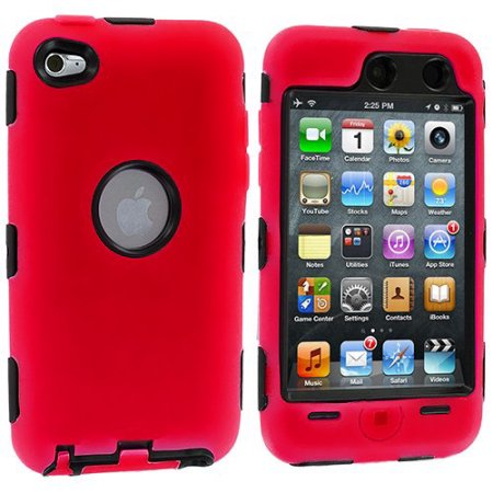 Hybrid Skin Hard Silicone Armor Case Cover for Apple iPod Touch 4G, 4th Generation, 4th Gen 8GB / 32GB / 64GB - Red/Black
