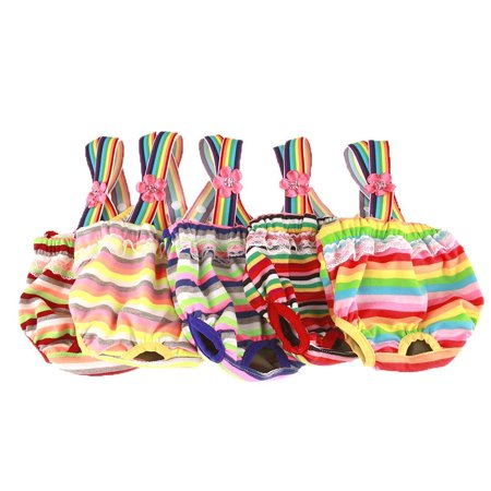 Cute Sweet Pet Dog Physiological Pant Female Puppy Cotton Suspender Sanitary Diaper Underwear Color:Orange Green Red Stripes Size:M - image 8 of 8