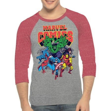 Marvel Men's Character Comics 3 Quarter Sleeve Raglan Graphic Shirt, up to Size 2XL - Marvel Suits