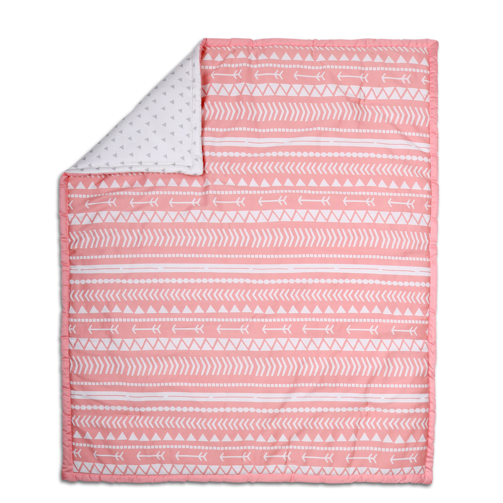 The Peanut Shell Baby Crib Quilt Coral Pink Native American Tribal and Grey Triangle Dot Prints 100% Cotton... by The Peanut Shell