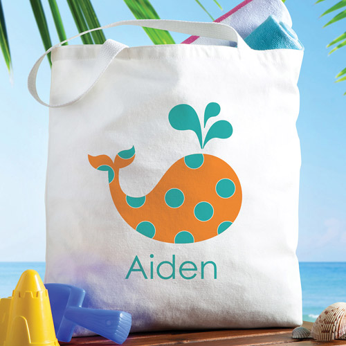 Personalized Boy Whale Tote Bag