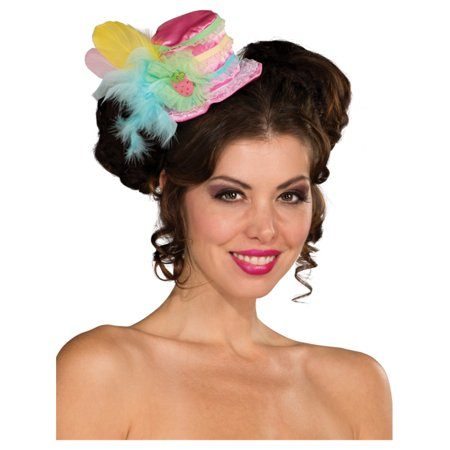 Womens Cute Strawberry Pink Clown Mini Costume Pastel Feathered Top Hat - Top Hat Costume