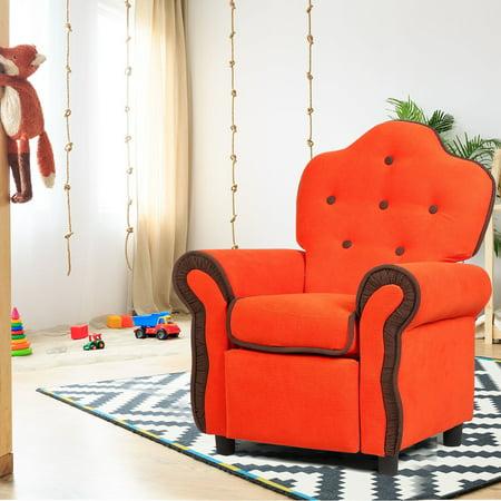 Children Recliner Kids Sofa Chair Couch Living Room Furniture Orange - image 8 de 9