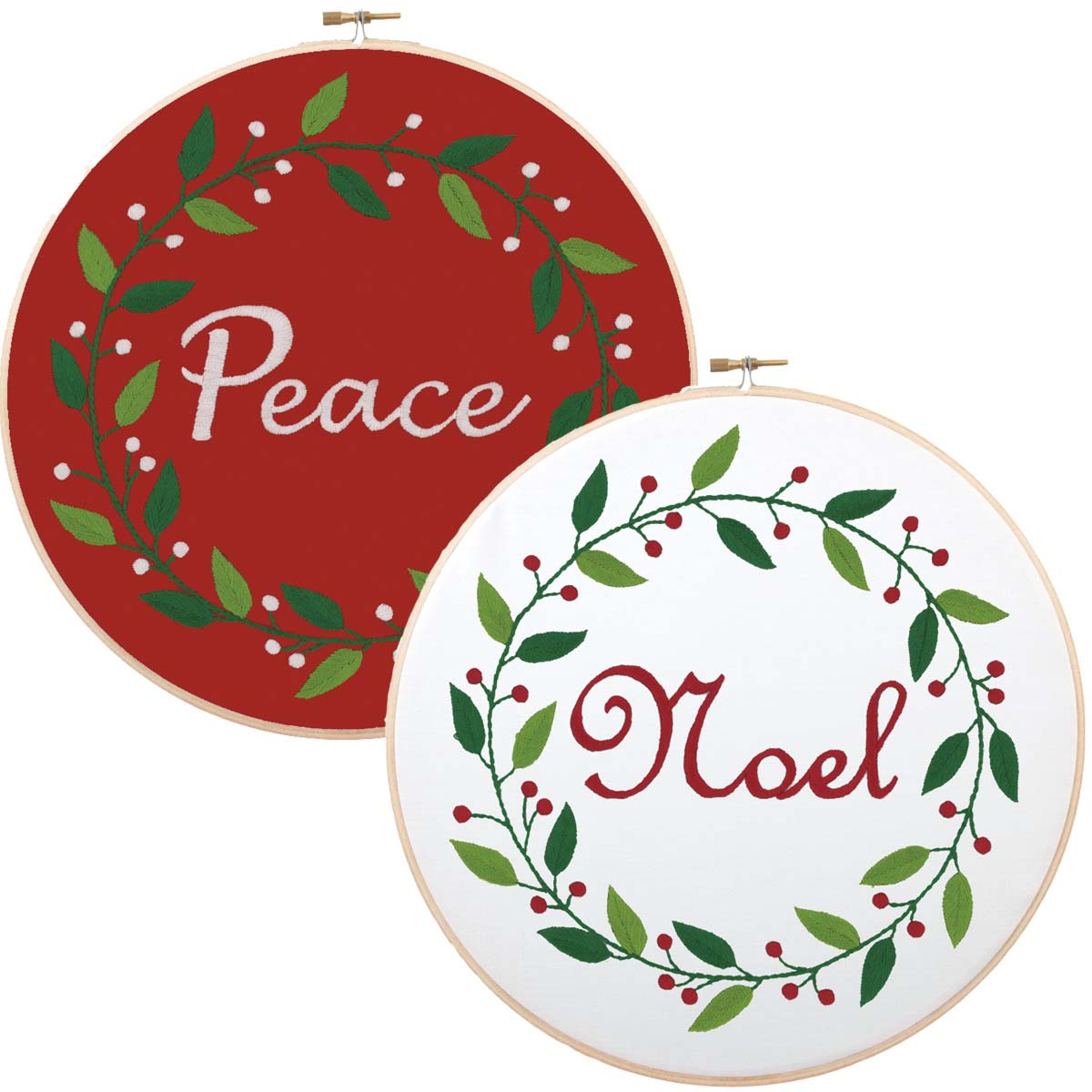 Herrschners® Winter Wreaths Stamped Embroidery Kit