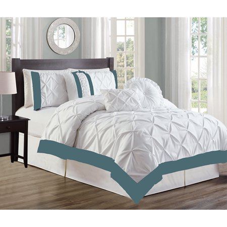 Comforter Sheets Shams Bed Skirt (Bed In A Bag King Size with Sheets 7-Piece All Season Comforter with Bed Skirt, Neckroll, Shams and Pillows )