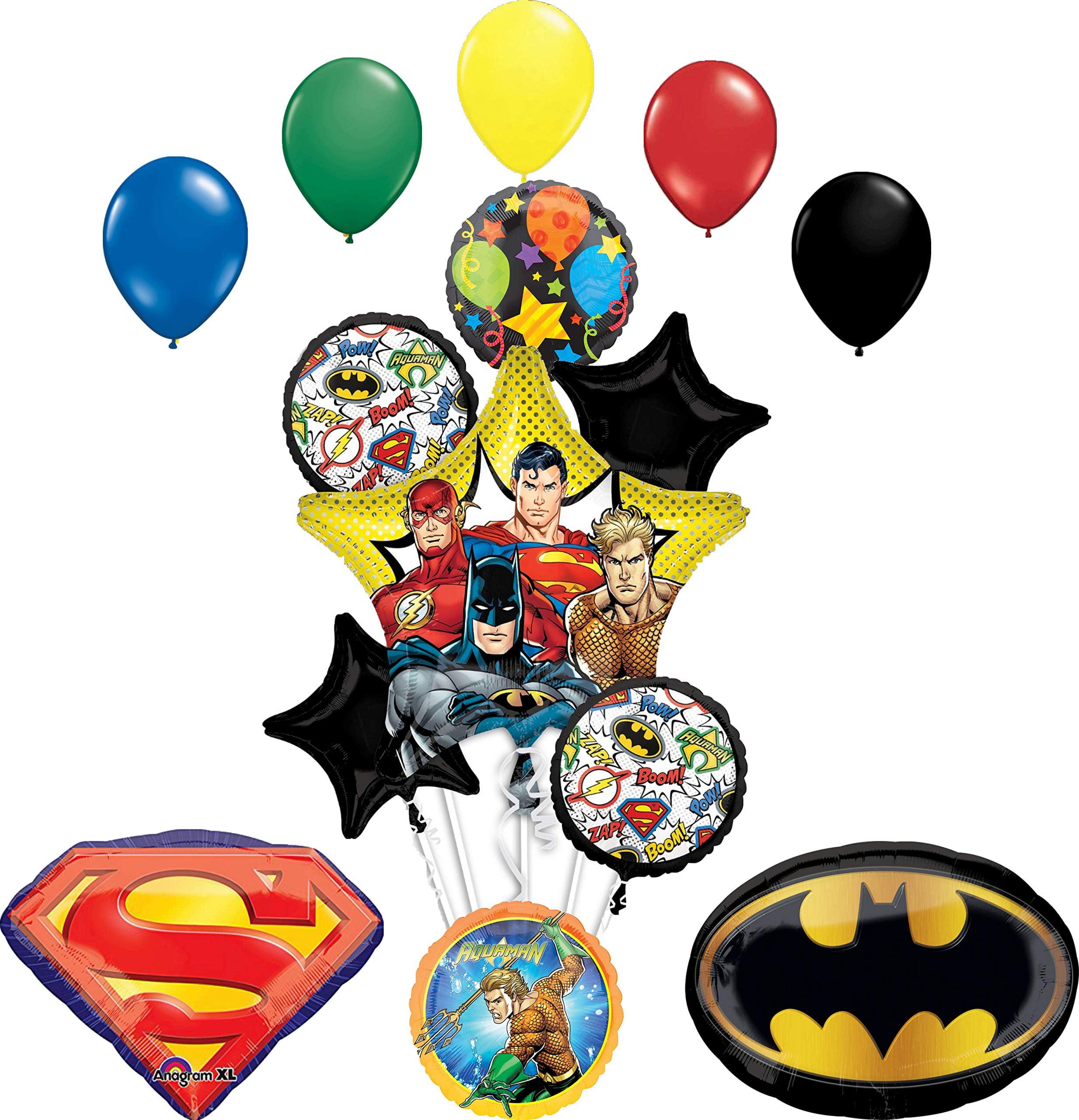 Justice League Birthday Party Supplies Superman Batman Emblem Balloon Bouquet Decorations Walmart Com Walmart Com