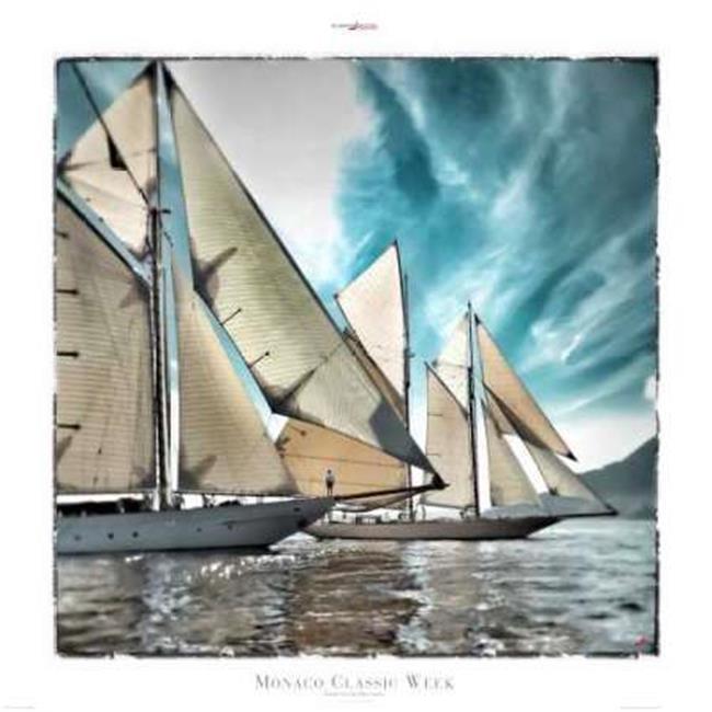 Tangletown Fine Art Monaco Classic Week by Philip Plisson Poster Frame - 18 x 18 x 1.5 in.