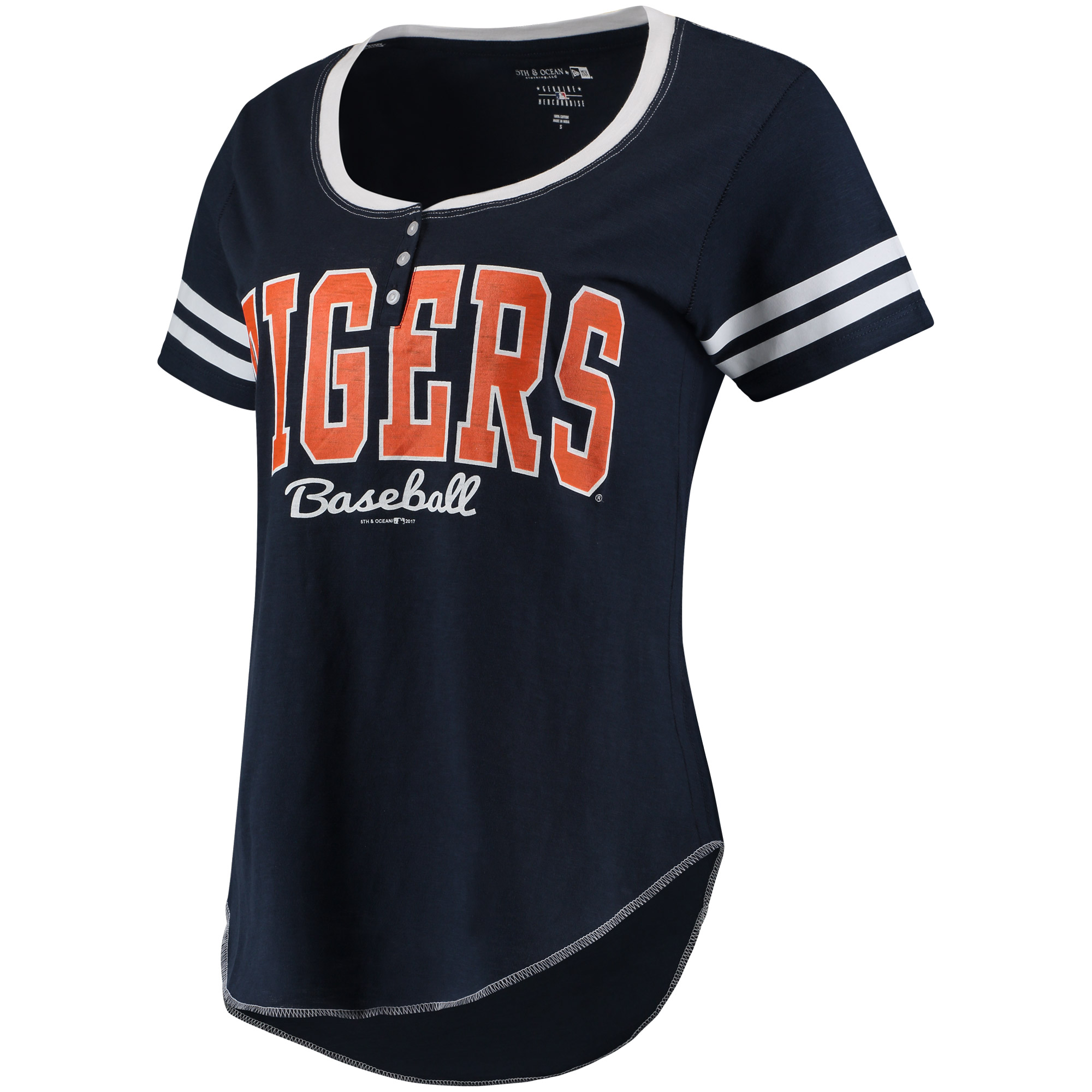 Women's 5th & Ocean by New Era Navy/White Detroit Tigers Slub Henley T-Shirt
