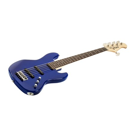 Monoprice Indio Jamm 5-String Electric Bass - Blue, With Gig Bag