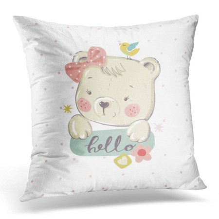 BSDHOME Girl Cute Little Bear Cartoon Baby Celebration Greeting and Vintage Pillow Case Pillow Cover 20x20 inch - image 1 de 1