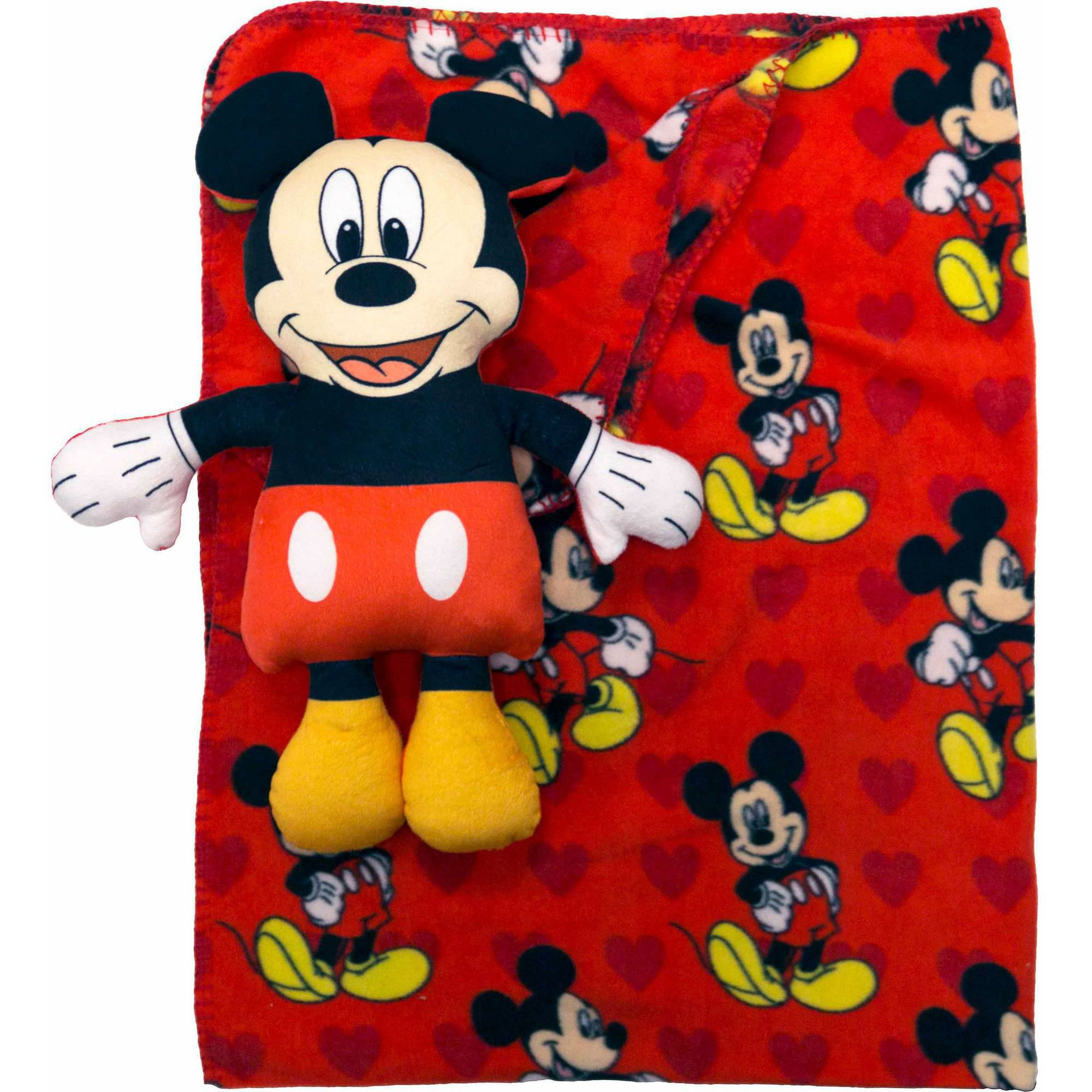 Disney Mickey Mouse Character Pillow and Throw Set