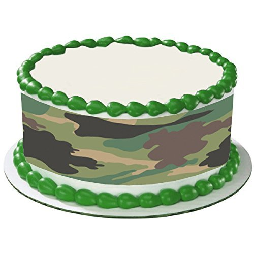 CAMO CAMOUFLAGE ARMY GREEN TRANDITIONAL HUNTING HUNTER CAKE SIDE STRIPS Cake Topper Edible Icing Image