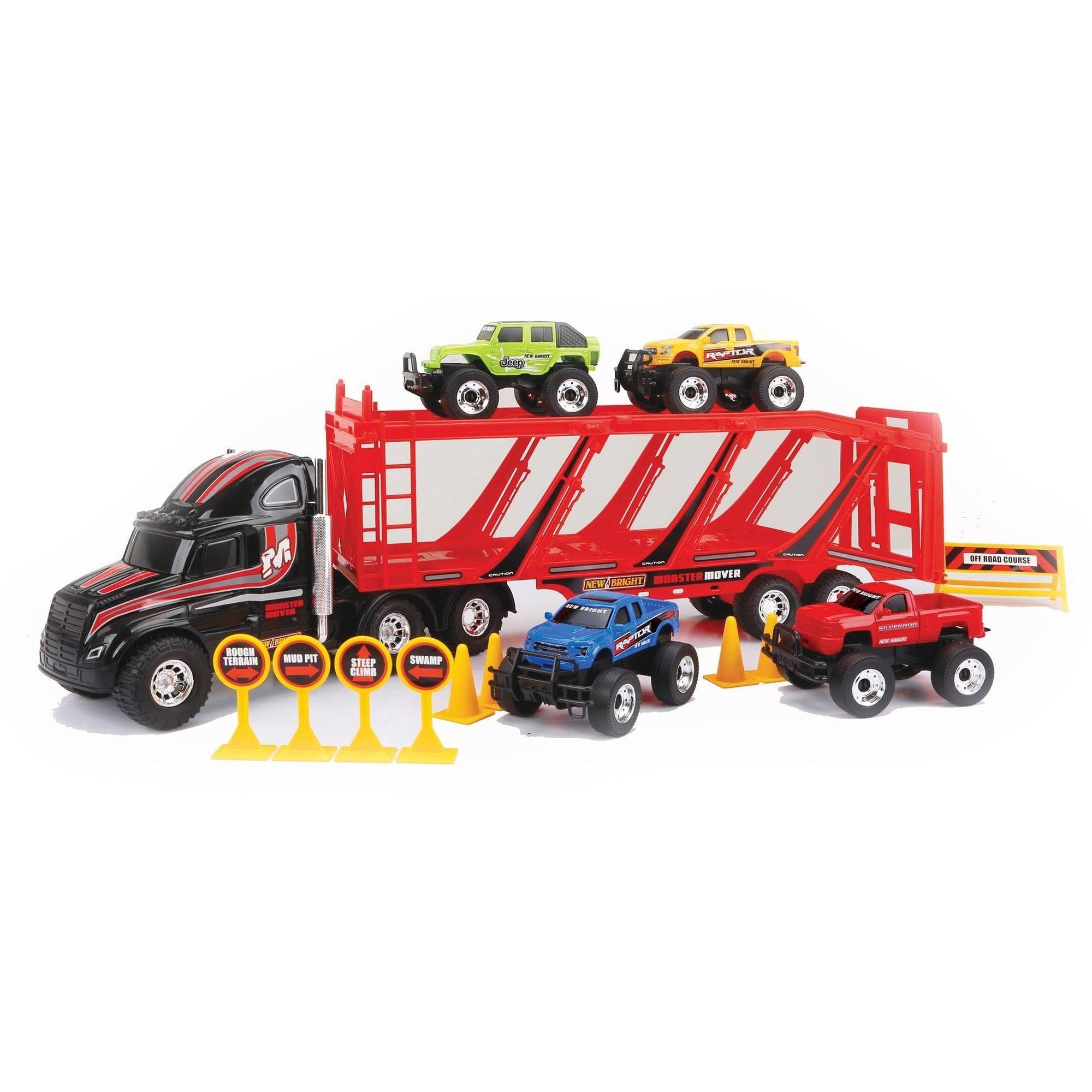 """New Bright 22"""" Free-Wheeling Car Carrier with Trucks and Accessories, Black"""