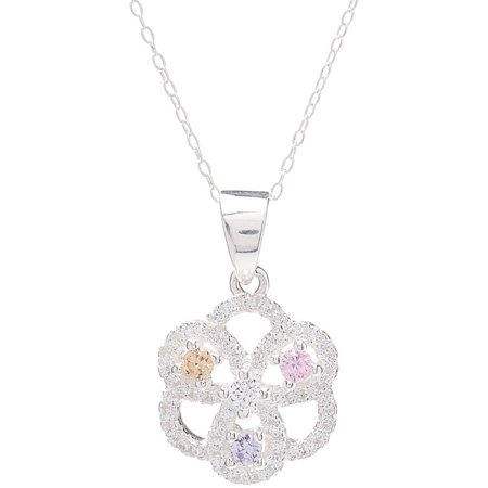 Pori Jewelers 18kt White Gold-Plated Sterling Silver Flower Pendant Necklace with M.C Crystal by Swarovski