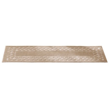 Herringbone Trim Solid Colored Skid Resistant Accent Rugs Sand