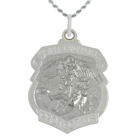 Michael Medal Necklace (1 3/8in 0.925 Sterling Silver St Saint Michael Medal Badge Pendant Necklace )