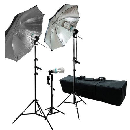 Loadstone Studio 600 Watt Photography, Video and Portrait Studio Umbrella Continuous Lighting Kit, 6500K Daylight Balanced CFL bulbs, Gold & Silver Reflective Umbrellas, Carrying Case, WMLS3292