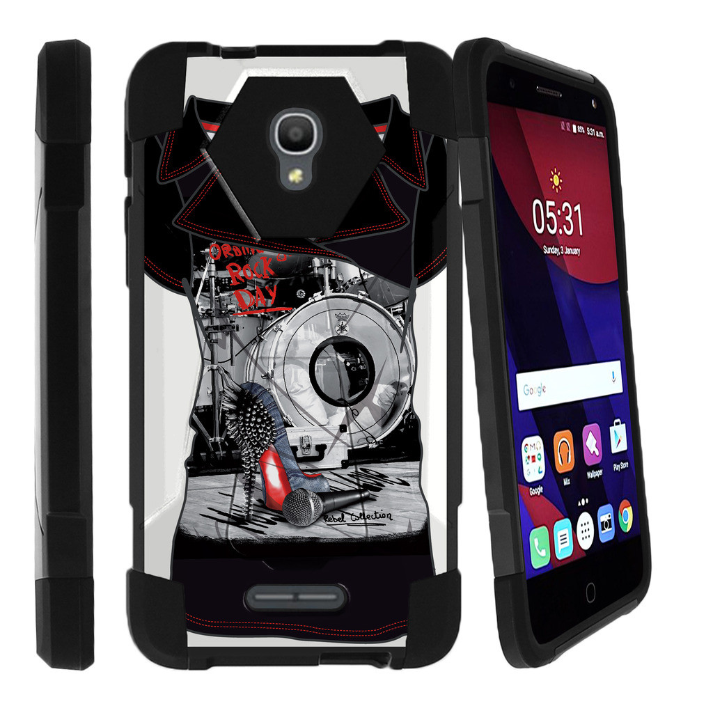 Alcatel One Touch Fierce 4 and Pop 4 Shock Fusion Heavy Duty Dual Layer Kickstand Case -  Rock Your Stilettos