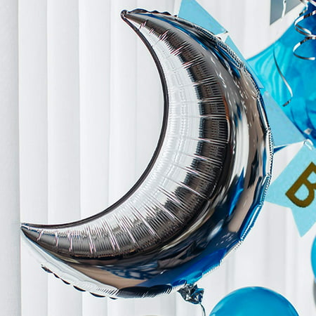 PartyWoo Black Blue Silver Birthday Balloons Pack 55 pcs Star Balloons Moon Balloons Happy Birthday Balloons Assorted Foil Balloons Mylar Balloons Latex Balloons - Royal Blue, Black, Silver - Silver Mylar Balloons
