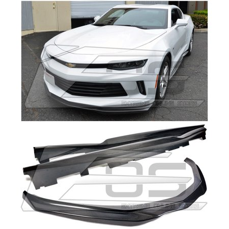 Extreme Online Store for 2016-Present Chevrolet Camaro RS | EOS T6 Style Carbon Fiber Front Bumper Add On Lower Lip Splitter W/Side Skirts Rocker Panels  Product ID:  680266868530](Cheap Stores Online)