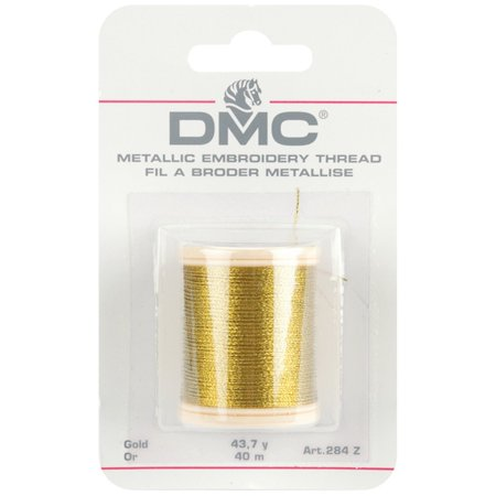 284Z Metallic Embroidery Thread, 43.7-Yard, Gold, This 3-ply, non-divisible thread is perfect as an accent on all types of hand embroidery and cross-stitch By