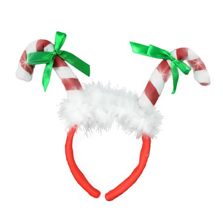 Light Up Candy Cane Boppers Headband LED Battery Operated  Christmas Accessory