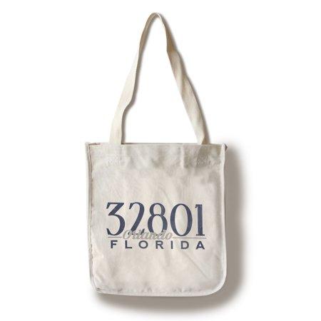 Orlando, Florida - 32801 Zip Code (Blue) - Lantern Press Artwork (100% Cotton Tote Bag -