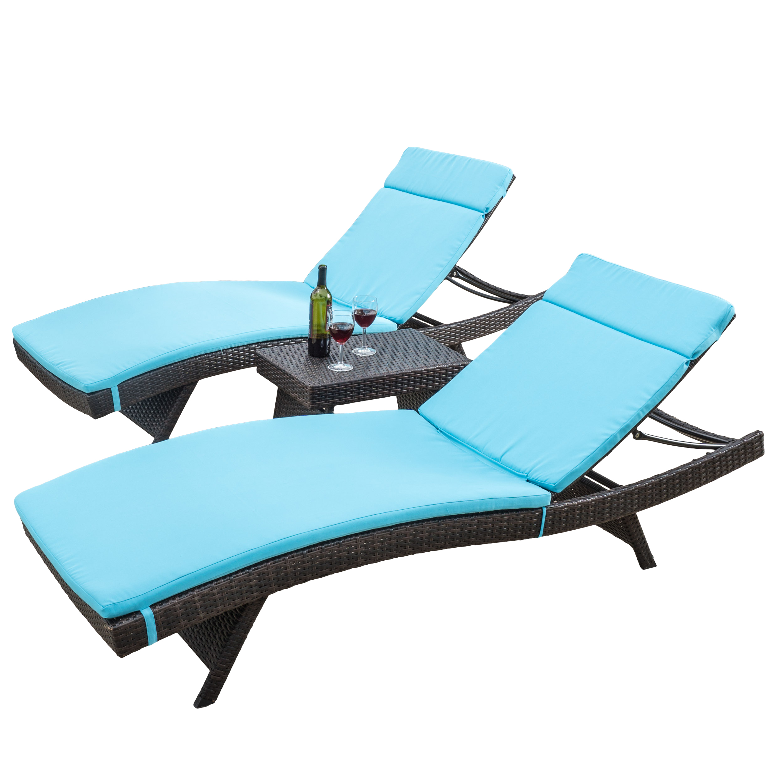 Noble House 3 Piece Outdoor Brown Chaise Lounger with Blue Cushions Set by Noble House