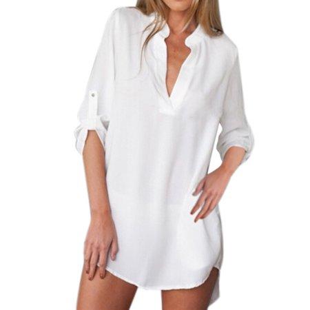 Womens Asymmetric Chiffon Shirt Dress Adjustable Sleeve V Neck Comfy Tops Blouses Asymmetric Mini Dress Top