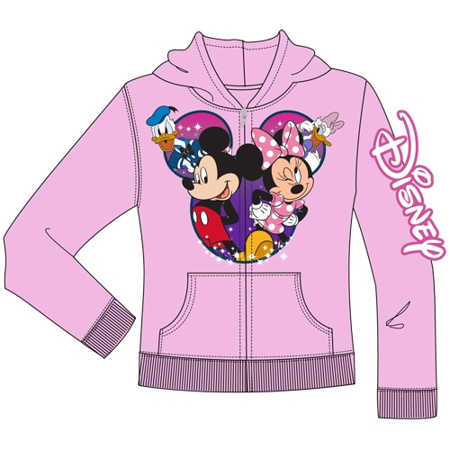 Disney Youth Group Cast Mickey Minnie Donald Daisy Zip Up Hoodie Light Pink