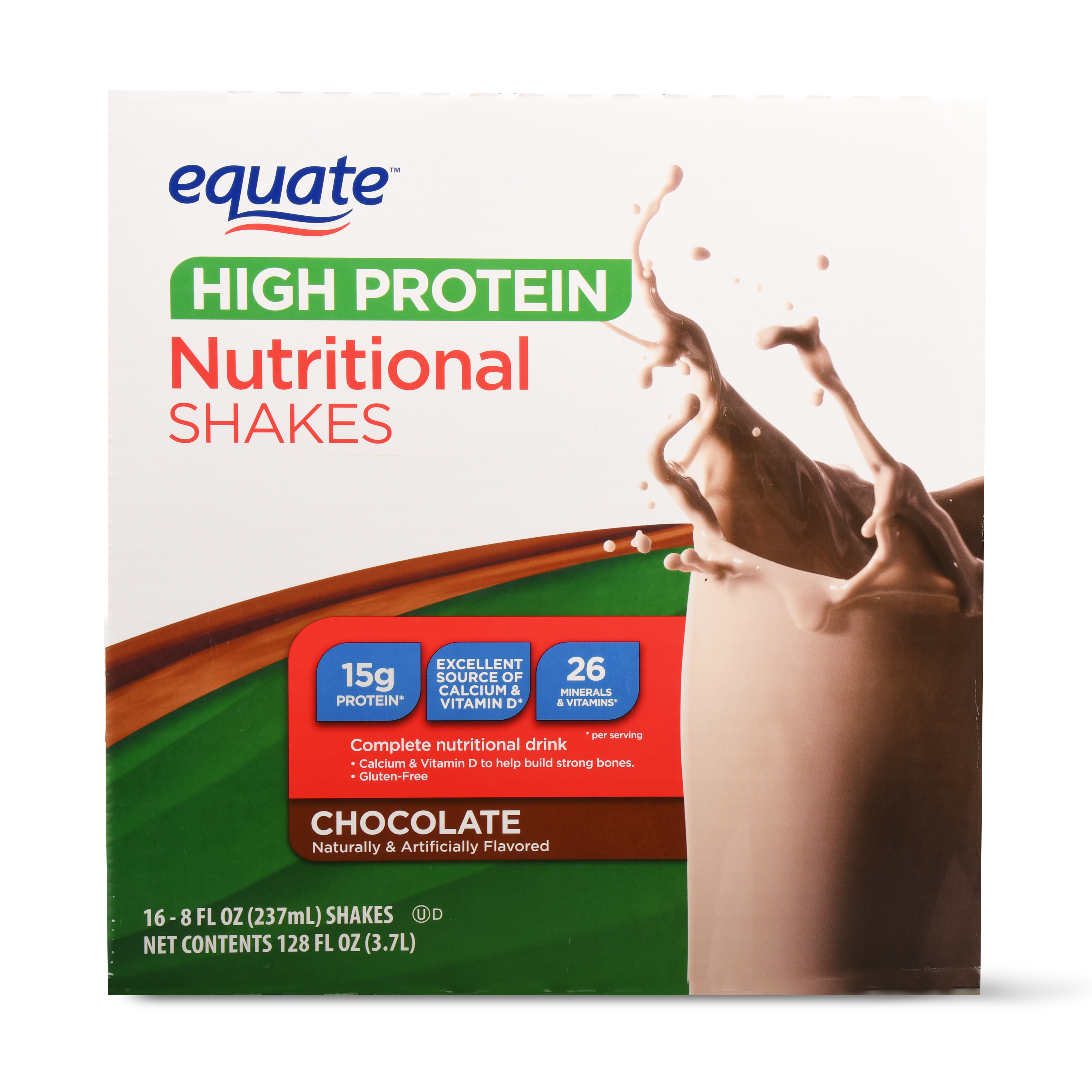 Equate High Protein Nutritional Shakes, Chocolate, 128 Oz, 16 Ct