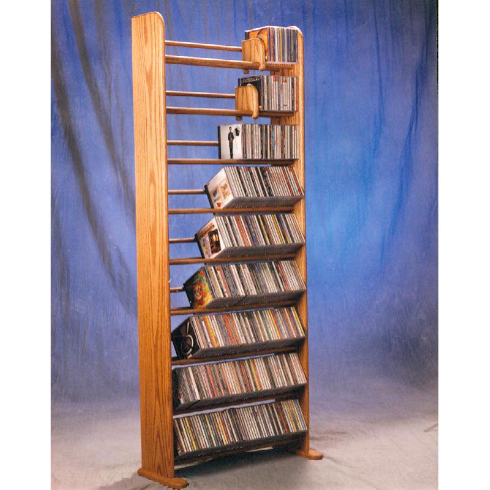 The Wood Shed Solid Oak 9 Row Dowel 504 CD Media Rack