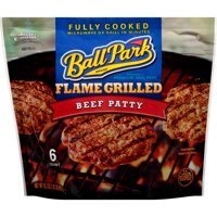 Ball Park Fully-Cooked Flame Grilled Original Beef Patties, 6 Count (Frozen)