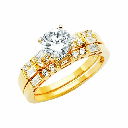 Solid 14k yellow Gold 4 Prong CZ Cubic Zirconia Round Cut Wedding Engagement Ring (1 ct.), 2 Pc set